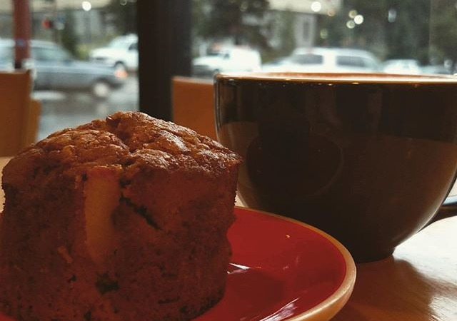 Extreme mocha + warm apple muffins, made fresh by our baker, Darcy Spence. A perfect combination for a windy day at #yaliscafe